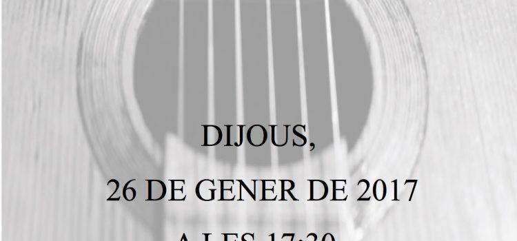 Audició de guitarres 26 de gener, 17:30 hores.