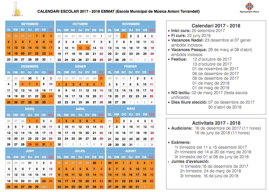 CALENDARI 2017 2018