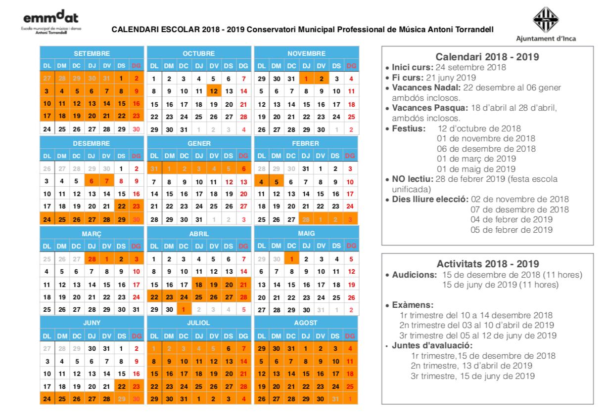 Calendari 2018 2019